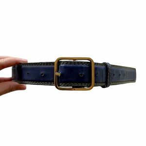 Vintage Blue Leather Square Buckle Stitched Belt